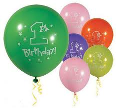 helium balloons for first birthday party