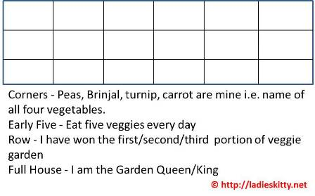 vegetables bingo game